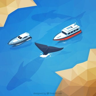 Paysage sauvage avec des navires et une baleine