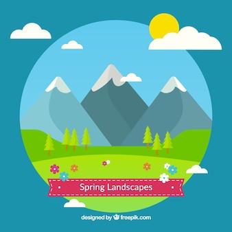 paysages de printemps mignons dans design plat