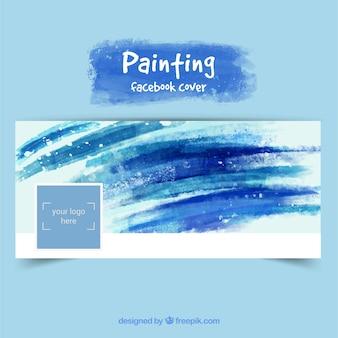 Peint à la main couverture de facebook dans les tons bleus
