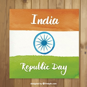 Peint à la main république indienne carte de drapeau de jour