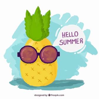 Peint à la main d'ananas frais avec des lunettes de soleil