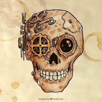 Peinte à la main crâne steampunk