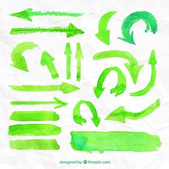 Peints à la main flèches vertes
