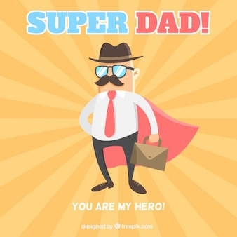 Père avec une cape comme une carte de super-héros
