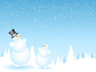 Père et fils bonhommes de neige