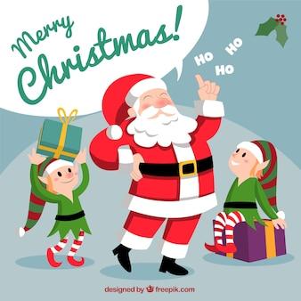 Père Noël avec des elfes de noël