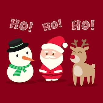 Père Noël bonhomme de neige de bande dessinée de Noël de renne