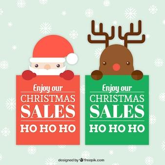 Père Noël et rennes bannières en design plat
