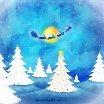 Père Noël volant dans la nuit fond d'aquarelle