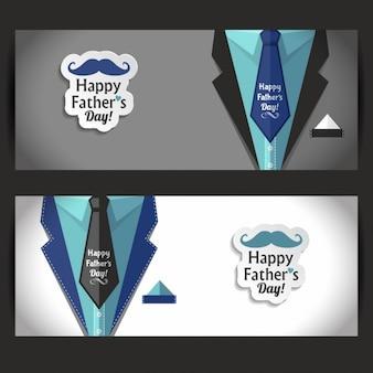 Pères heureux bannière jour ensemble