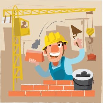 Personnage constructeur. Illustration vectorielle