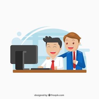 Personnage d'affaires deux travaillant ensemble
