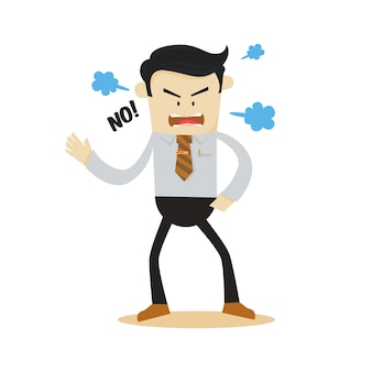 Personnage de dessin animé en colère homme d'affaires