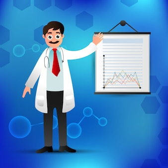 Personnage de docteur avec graphique