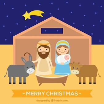 Personnages charmants de la scène de la Nativité dans la conception plate