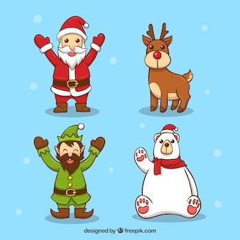 Personnages de Noël avec un style mignon