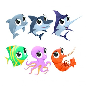 Personnages drôles animaux marins Vector cartoon isolés