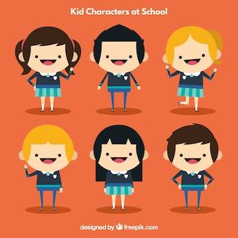 Personnages pour enfants à l'école