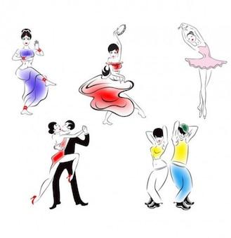 Personnes de danse croquis