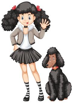 Petite fille et chien de caniche