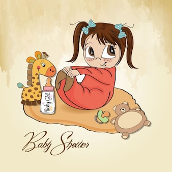 Petite fille jouer avec ses jouets de bébé carte de douche