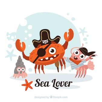 Pirate crab et amis fond