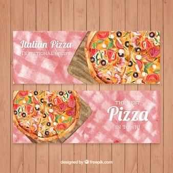 Pizzas Aquarelle bannières