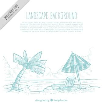 Plage de fond croquis avec un parasol et palmier
