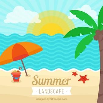Plat paysage de plage avec palmier