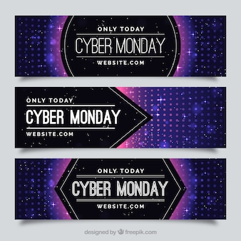 Plusieurs bannières cyber lundi avec effet bokeh