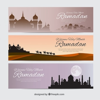Plusieurs bannières ramadan