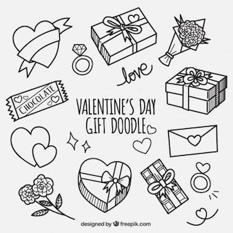 Plusieurs cadeaux dessinés à la main pour Saint Valentin