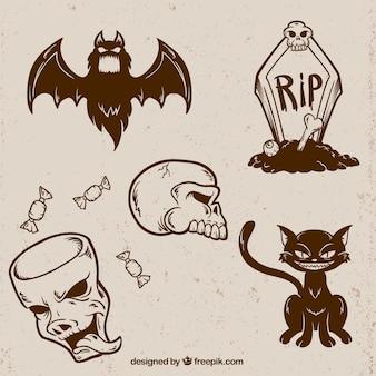 Plusieurs croquis d'éléments de halloween