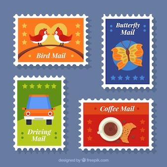 Plusieurs timbres de poste colorés