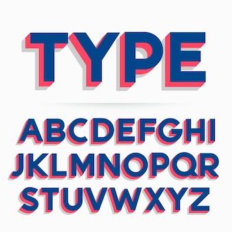 Police de caractères 3d et conception de vecteur alphabétique