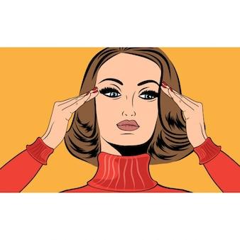 Pop art rétro femme dans la bande dessinée de style avec la migraine