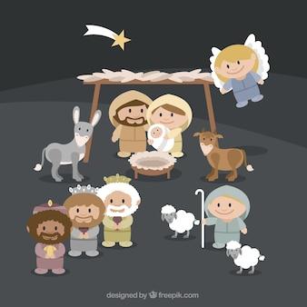 Portail de la scène de la nativité avec de beaux caractères