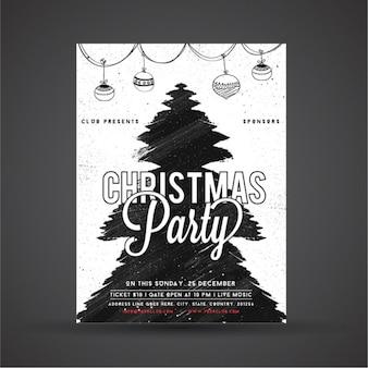 Poster fête de Noël avec l'arbre abstrait et guirlande