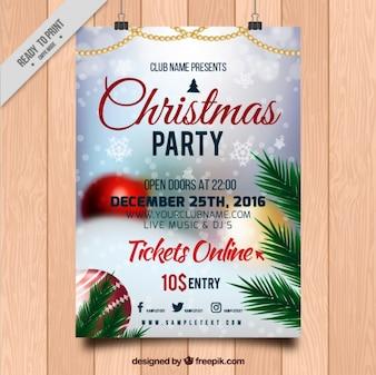 Poster fête de Noël avec l'image floue