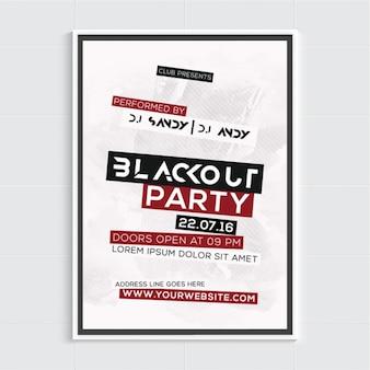 Poster Party avec des formes noires et rouges