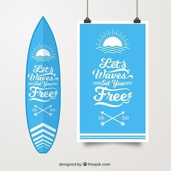 Poster Surf avec planche de surf