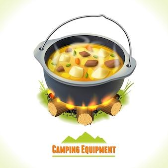 Pot de camping symbole de camping