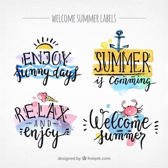 Pretty summer watercolor stickers