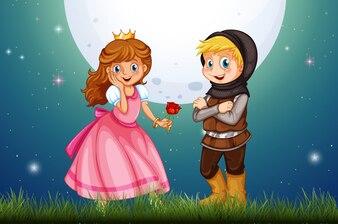 Princesse et chevalier dans le champ