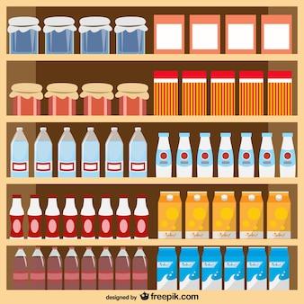 Produits alimentaires supermarché vecteur