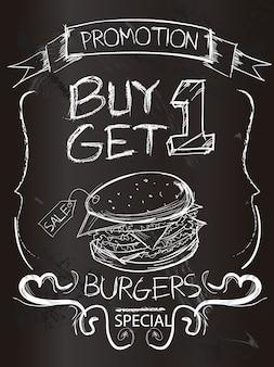 Promotion de l'hamburger sur le tableau de craie