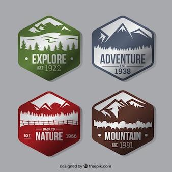 Quatre badges hexagonales sur l'aventure dans la forêt