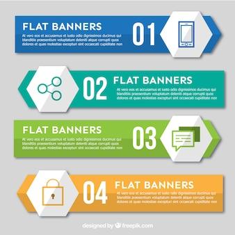 Quatre bannières plates pour infographique