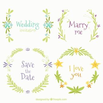 Quatre cadres floraux pour les mariages
