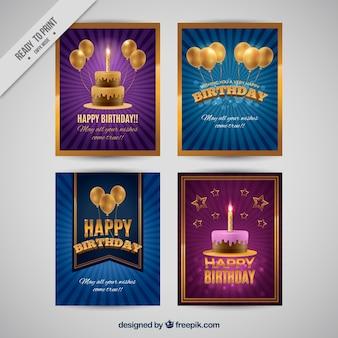 Quatre cartes d'anniversaire dans le style rétro